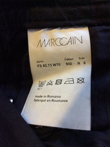 MARCCAIN BLACK EMBROIDERED JEANS SIZE N6 UK 16
