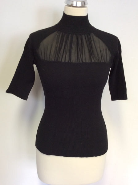 KAREN MILLEN BLACK SILK INSERT SHORT SLEEVE JUMPER SIZE 2 UK 10/12