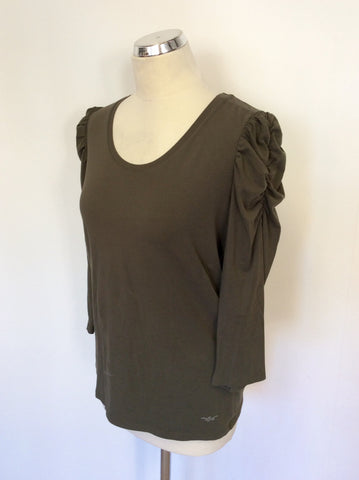 MARC AUREL KHAKI RUCHED SLEEVE SCOOP NECK TOP SIZE 14