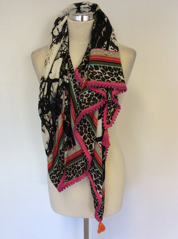 BRAND NEW HOT PINK & MULTI COLOURED PRINT WRAP/ SCARF