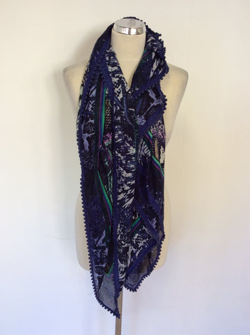 BRAND NEW BLUE & MULTI COLOURED PRINT WRAP/ SCARF