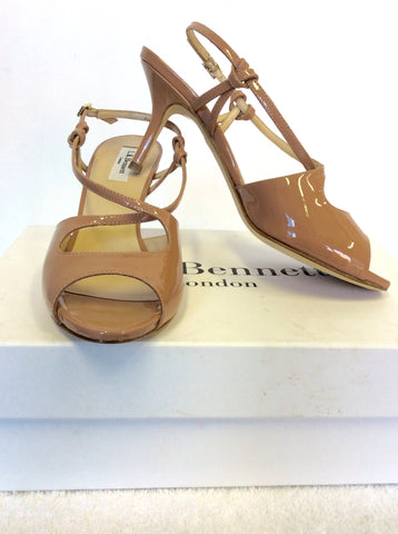 BRAND NEW LK BENNETT FAWN (BLUSH) PATENT LEATHER SANDALS SIZE 5/38