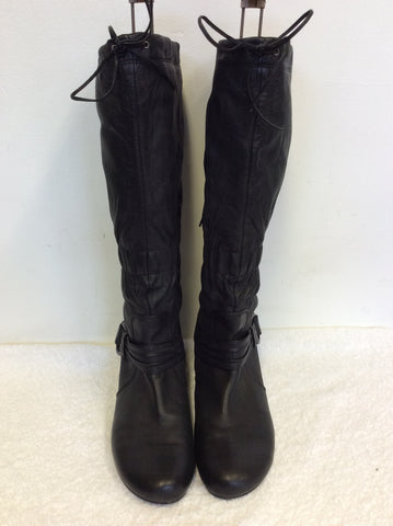 HOGL BLACK LEATHER BUCKLE TRIM KNEE LENGTH BOOTS SIZE 8/42
