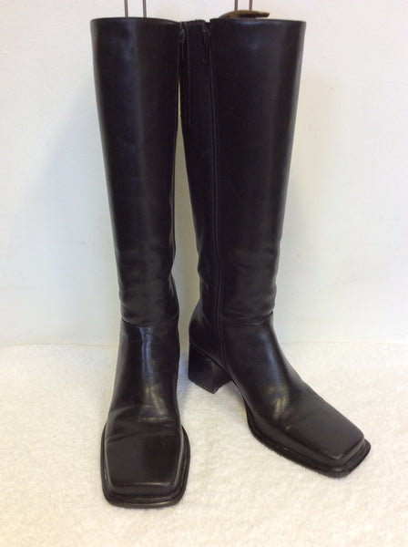 BP BLACK LEATHER KNEE LENGTH BOOTS SIZE 7.5/41