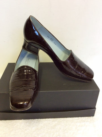 BRAND NEW VAN DAL DARK BROWN PATENT LEATHER CROC JEAN COURT SHOES SIZE 4.5/ 37.5