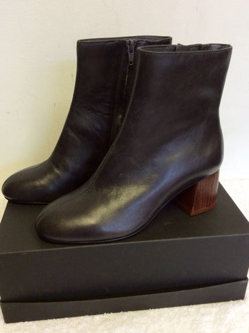 BRAND NEW MARKS & SPENCER AUTOGRAPH CHARCOAL GREY LEATHER ANKLE BOOTS SIZE 3/35.5