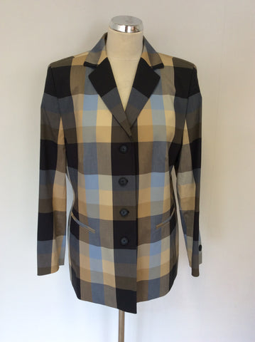 BASLER CITY CLUB CHECKED COTTON BLEND JACKET SIZE 16