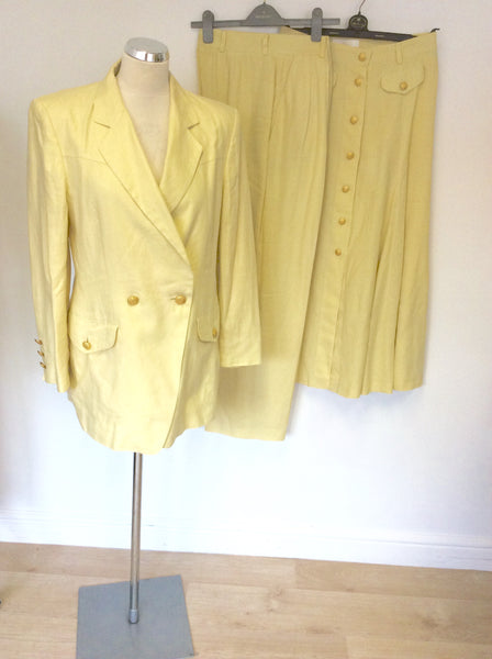 VINTAGE ESCADA LEMON LINEN JACKET,SKIRT & TROUSER SUIT FIT UK 12