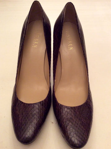 BRAND NEW RALPH LAUREN BROWN SNAKESKIN LEATHER HEELS SIZE 8
