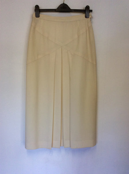 VINTAGE PAUL COSTELLOE CREAM WOOL PLEATED LONG SKIRT SIZE 14 FIT UK 10