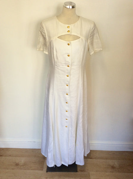 VINTAGE ESCADA WHITE LINEN & SILK SHORT SLEEVE LONG DRESS SIZE 40 UK 12