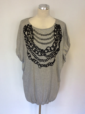 GATE ONE GREY & BLACK CHAIN TRIM COTTON TOP SIZE L