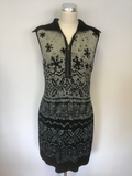 MARCCAIN SPORTS  ZIP NECK AZTEC DESIGN  WOOL FRONT STRETCH PENCIL DRESS SIZE N5 UK 16