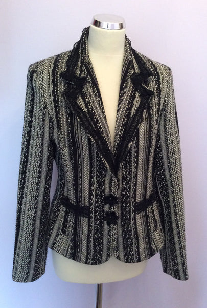 Aria Black & White Wool Blend Weave Jacket Size 12 - Whispers Dress Agency - Sold - 1