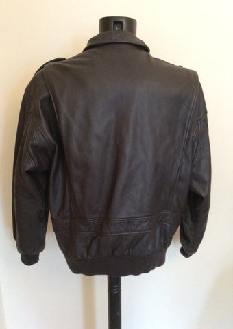 "The Pilot Dark Brown Leather Pilot Jacket Size 54 UK 44"" - Whispers Dress Agency - Mens Coats & Jackets - 5"
