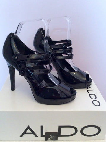 Aldo Black Patent Leather Peeptoe Mary Jane Heels Size 5/38 - Whispers Dress Agency - Womens Heels - 2