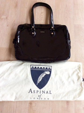 ASPINAL BLACK PATENT LEATHER SOFT LAPTOP TOTE BAG - Whispers Dress Agency - Shoulder Bags - 1