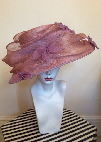 Occasions By Failsworth Millinery Dusky Pink & Lilac Flower Trim Formal Hat