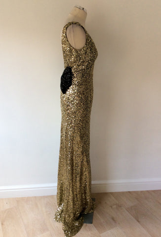 NAZZ COLLECTION GOLD SEQUINED WITH BLACK BOW LONG EVENING DRESS SIZE 12 - Whispers Dress Agency - Sold - 7