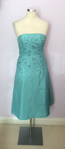 Brand New Monsoon Duck Egg Silk Strapless / Strappy Dress Size 8 - Whispers Dress Agency - Womens Dresses - 1