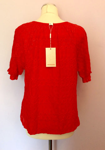 BRAND NEW MONSOON HOT PINK BROIDERY ANGLAISE TOP SIZE 16 - Whispers Dress Agency - Womens Tops - 2