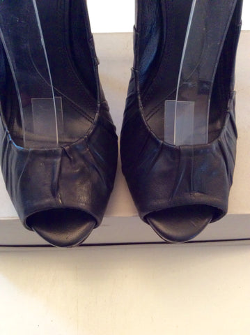 ALL SAINTS BLACK LEATHER PEEPTOE HEELS SIZE 6/39 - Whispers Dress Agency - Womens Heels - 2