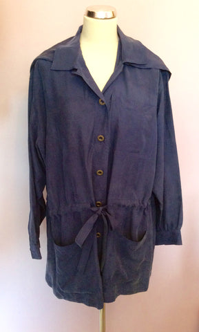 Vintage Jaeger Blue Silk Hooded Jacket Size M - Whispers Dress Agency - Womens Vintage - 1