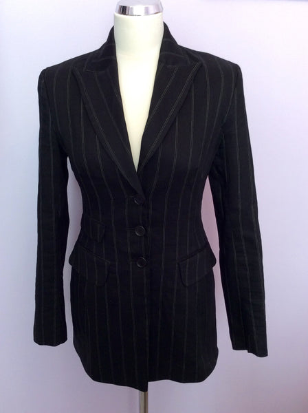 Karen Millen Black Pinstripe Linen Blend Suit Jacket Size 8 - Whispers Dress Agency - Sold - 1