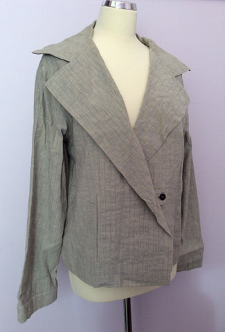 Annette Gortz Light Grey Pinstripe Linen Blend Trouser Suit Size 40/44 UK 14/18 - Whispers Dress Agency - Womens Suits & Tailoring - 2