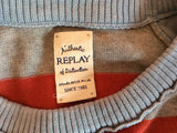 Replay Red, Grey & Light Blue Stripe Cotton Jumper Size L - Whispers Dress Agency - Sold - 4