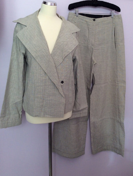 Annette Gortz Light Grey Pinstripe Linen Blend Trouser Suit Size 40/44 UK 14/18 - Whispers Dress Agency - Womens Suits & Tailoring - 1