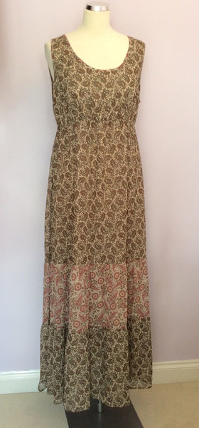 Marks & Spencer Autograph Neutral Paisley Print Maxi Dress Size 14 - Whispers Dress Agency - Sold - 1