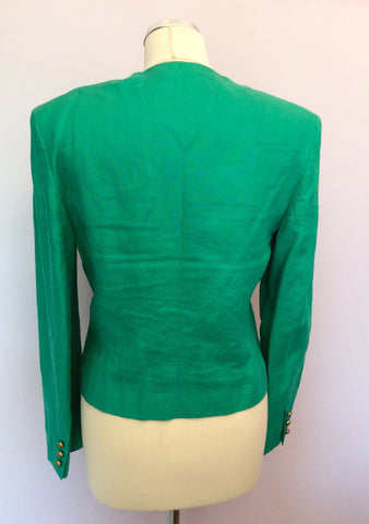 Vintage Jaeger Green Linen Box Jacket Size 10 - Whispers Dress Agency - Womens Vintage - 3