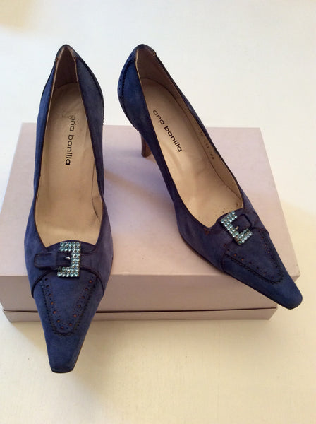ANA BONILLA BLUE SUEDE HEELS SIZE 5.5/38.5 - Whispers Dress Agency - Womens Heels - 1