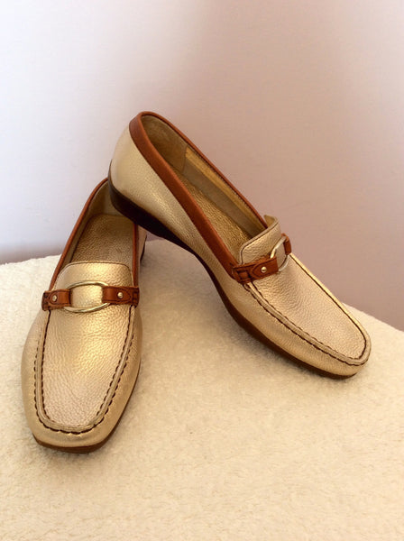 Brand New Daniel Hechter Gold Leather Loafers Size 8/42 - Whispers Dress Agency - Sold - 1