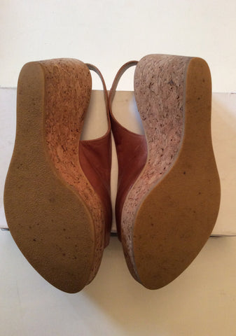 RUSSELL & BROMLEY TAN LEATHER WEDGE HEEL SANDALS SIZE 6/39 - Whispers Dress Agency - Womens Wedges - 3