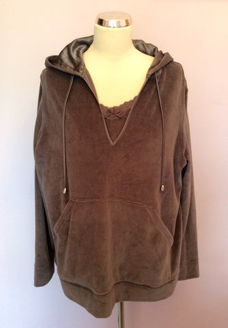 Brand New Active Wear Steel Grey Velour Camisole & Hooded Top Size 22 - Whispers Dress Agency - Womens Activewear - 1