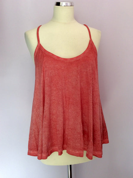 All Saints 'Dano' Coral Pink Sand Blasted Vest Top Size 10 - Whispers Dress Agency - Womens Tops - 1