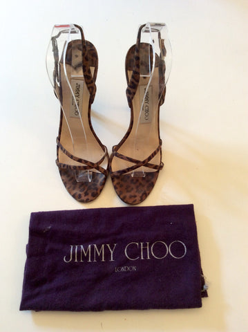 JIMMY CHOO BROWN LEOPARD PRINT STRAPPY SANDALS SIZE 5/38 - Whispers Dress Agency - Sold - 1