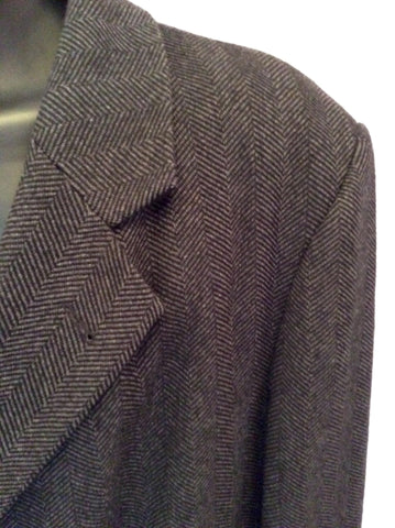 Di Caprio Dark Grey & Black Herringbone Wool & Cashmere Coat Size 46R / XL - Whispers Dress Agency - Sold - 3