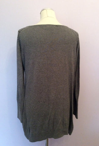 Esprit Grey Studded Trim Scoop Neck Long Jumper Size XL - Whispers Dress Agency - Womens Knitwear - 2