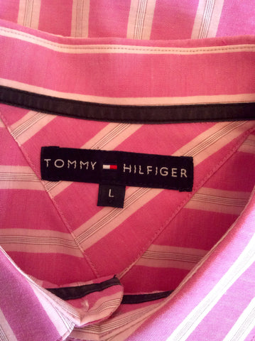 Tommy Hilfiger Pink & White Stripe Long Sleeve Shirt Size L - Whispers Dress Agency - Mens Casual Shirts & Tops - 2
