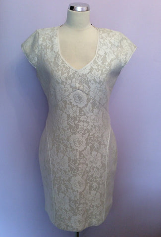 Brand New Reiss Cream Lace Jersey Dress Size 14 - Whispers Dress Agency - Womens Dresses - 6