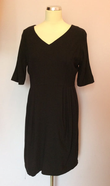 Jaeger Black Short Sleeve Pencil Dress Size 14 - Whispers Dress Agency - Sold - 1