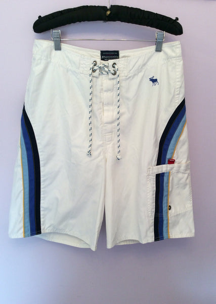 "Abercrombie & Fitch White Stripe Trim Swim Shorts Size 30"" - Whispers Dress Agency - Mens Swim & Beachwear - 1"