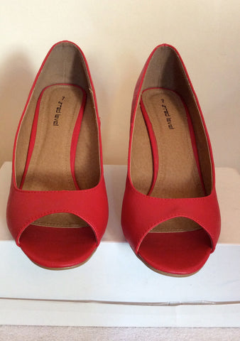 Brand New Red Level Red Peeptoe Striped Wedge Heels Size 7/40 - Whispers Dress Agency - Womens Wedges - 2