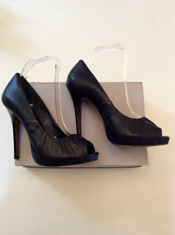 ALL SAINTS BLACK LEATHER PEEPTOE HEELS SIZE 6/39 - Whispers Dress Agency - Womens Heels - 1