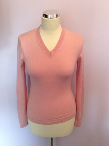 Tommy Hilfiger Pink V Neck Jumper Size M - Whispers Dress Agency - Sold - 1