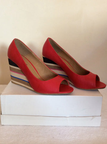Brand New Red Level Red Peeptoe Striped Wedge Heels Size 7/40 - Whispers Dress Agency - Womens Wedges - 1