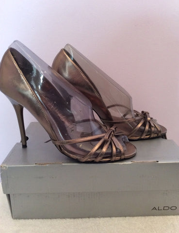 Aldo Pewter Leather Peeptoe Strappy Heels Size 4/37 - Whispers Dress Agency - Womens Heels - 2